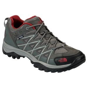 The North Face Storm III WP Waterproof Hiking Shoes for Men - Graphite Grey/Biking  Red - 14M