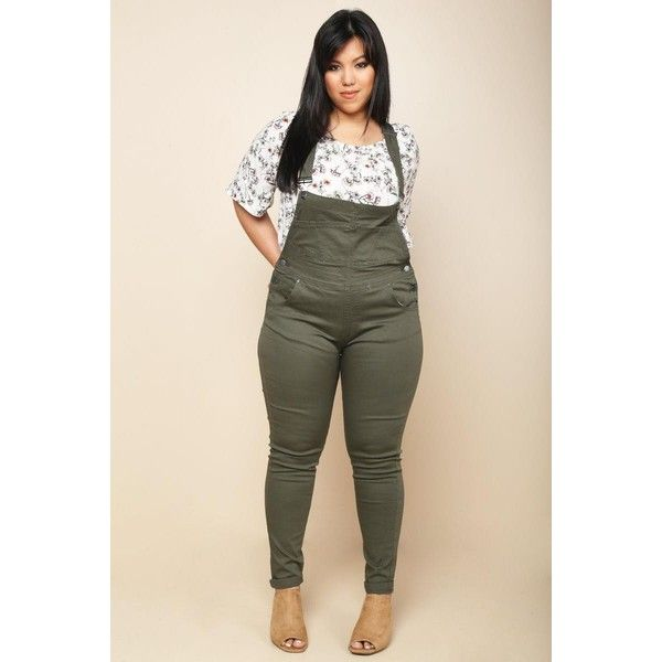 plus size cuffed skinny overalls ($26) ❤ liked on polyvore
