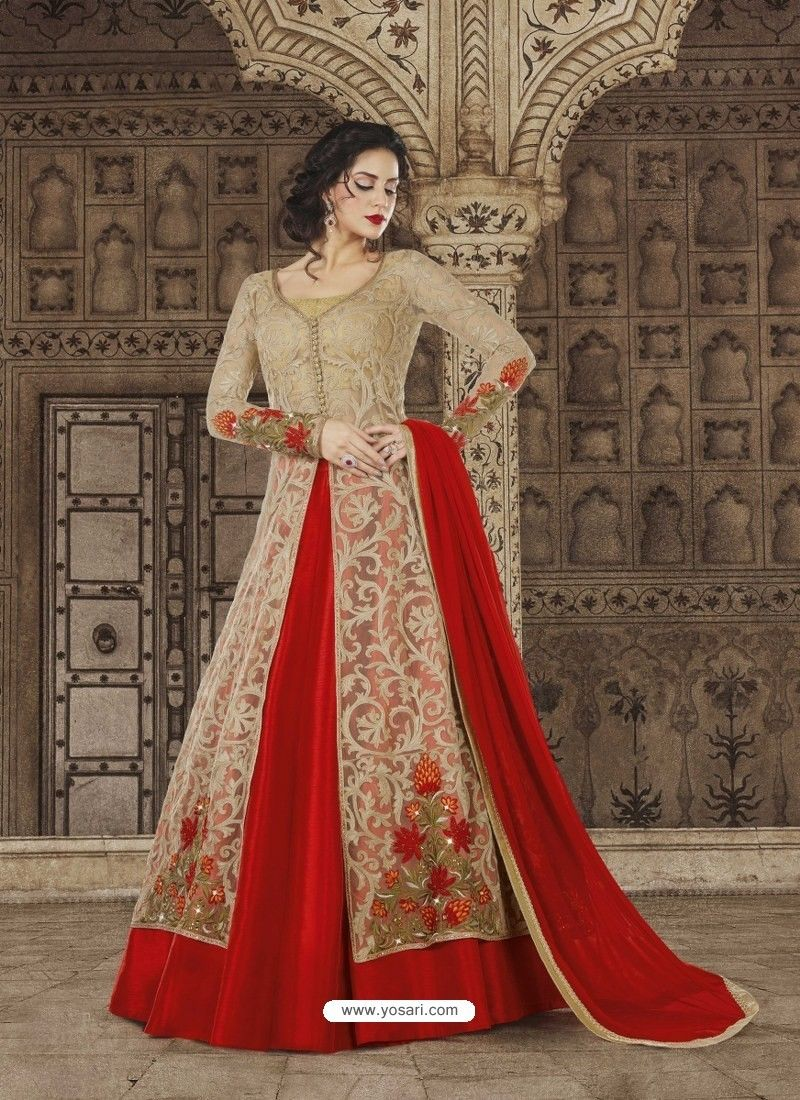 Fantastic beige and red embroidered premium nett designer anarkali