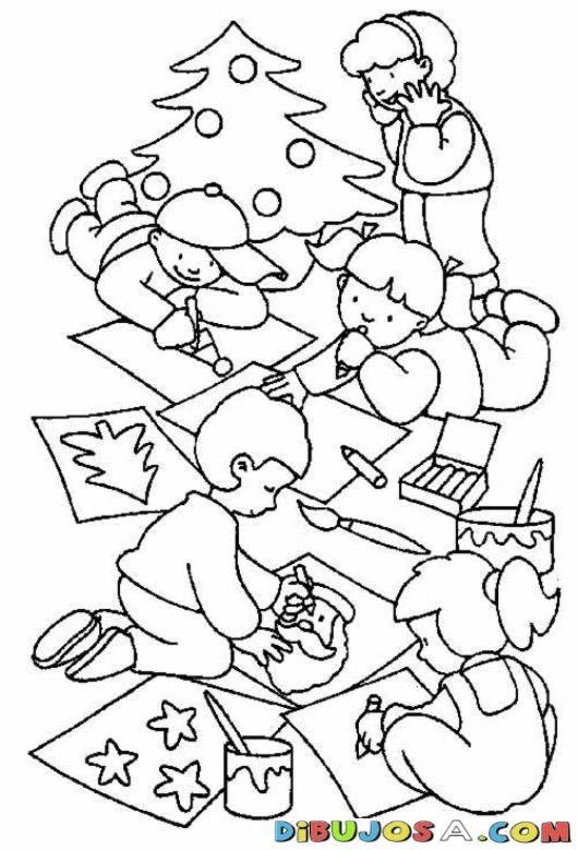 Dibujo De Varios Ninos Dibujando Dibujitos Con Motivos Navidenos Colorear Dibujos De Navidad Di Dibujos De Navidad Dibujos Para Colorear Motivos Navidenos