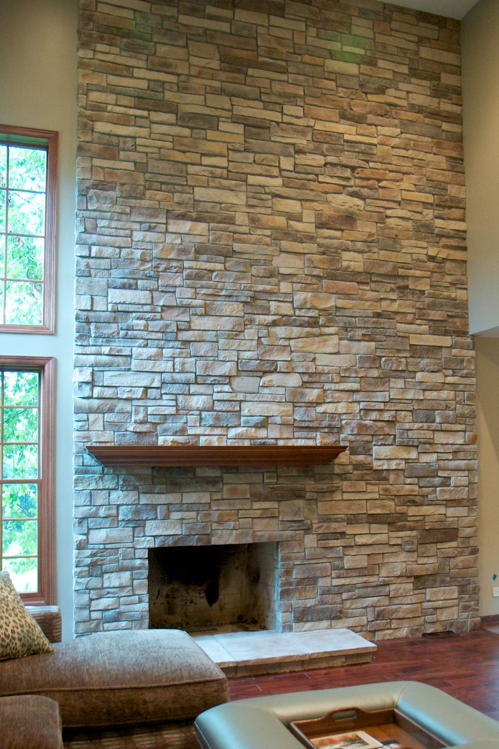 Mountain Stack Stone Fireplace With No Mortar Joint Stone