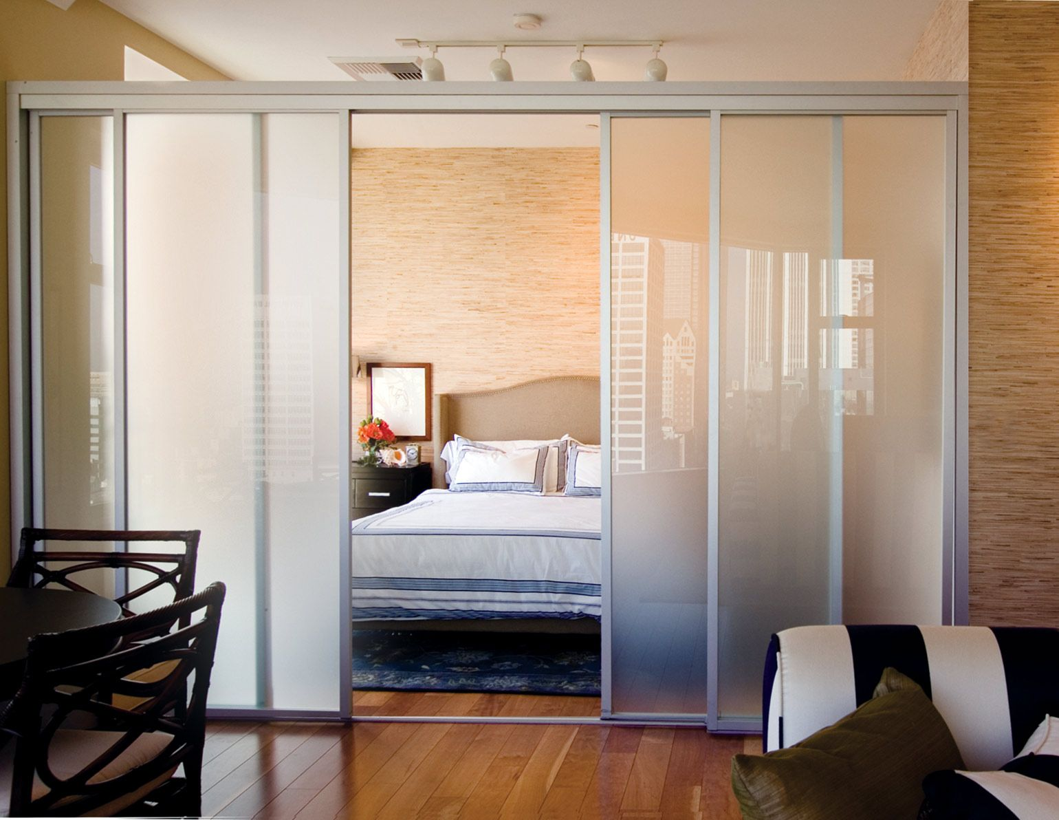 Glass Room Dividers Create Spaces That Matter The Sliding Door Company Studio Apartment Divider Apartment Layout Apartment Room