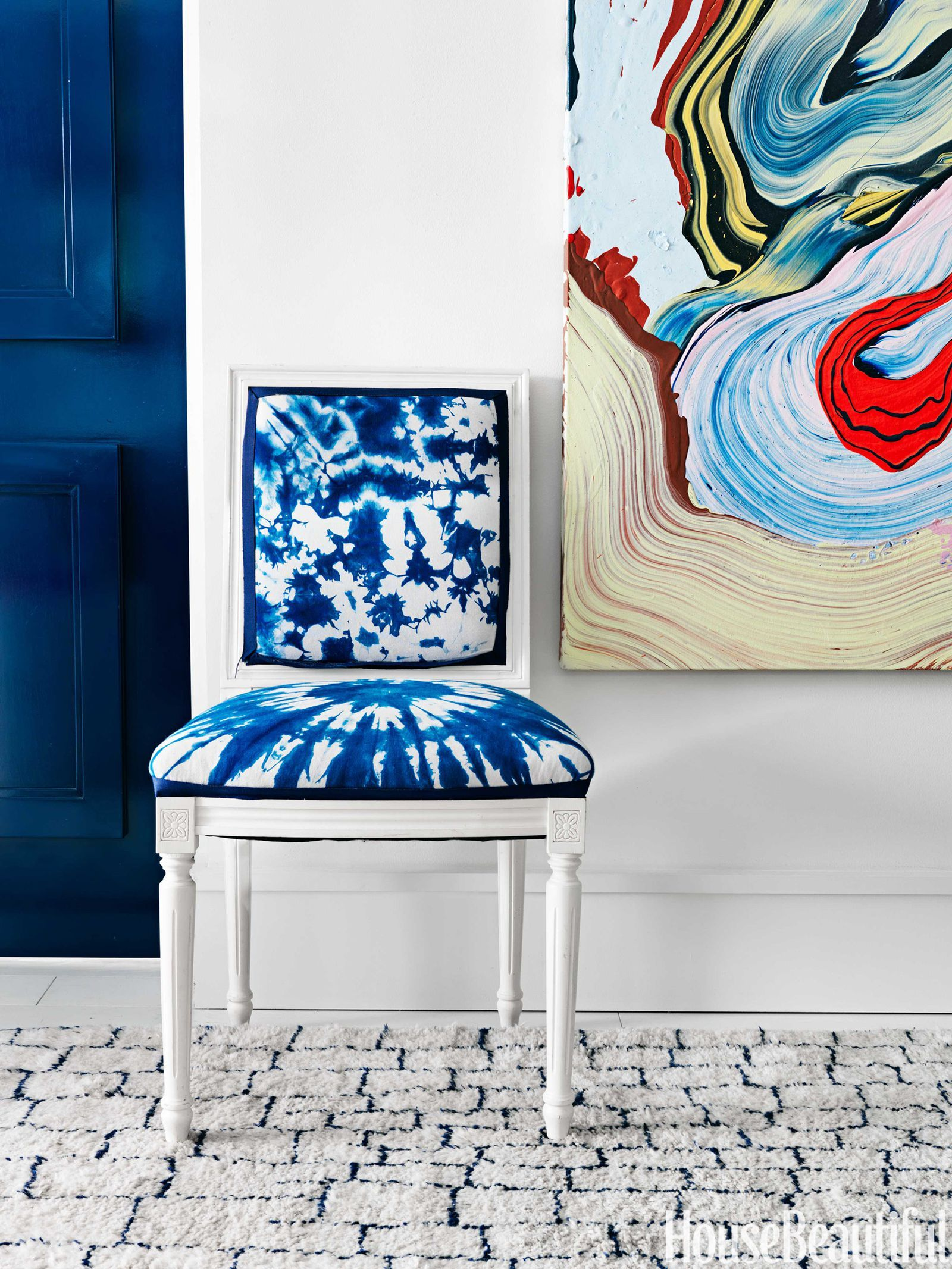 A colorful and modern miami apartment decor chair