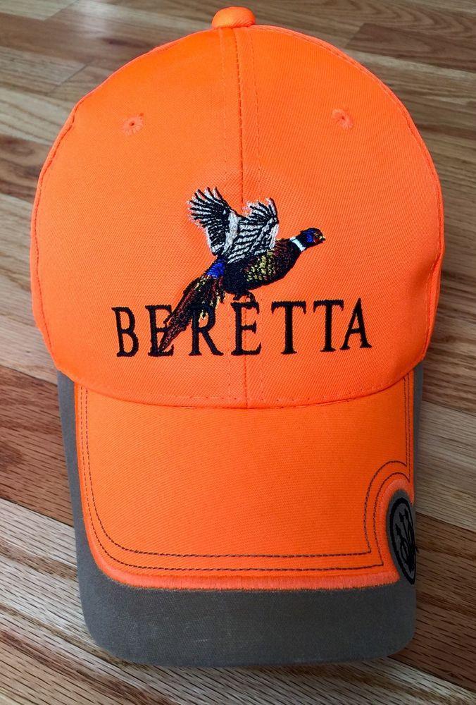 Beretta Blaze Orange Pheasant Hunting Baseball Cap Strap Adjustable  Shooting  1555edda615