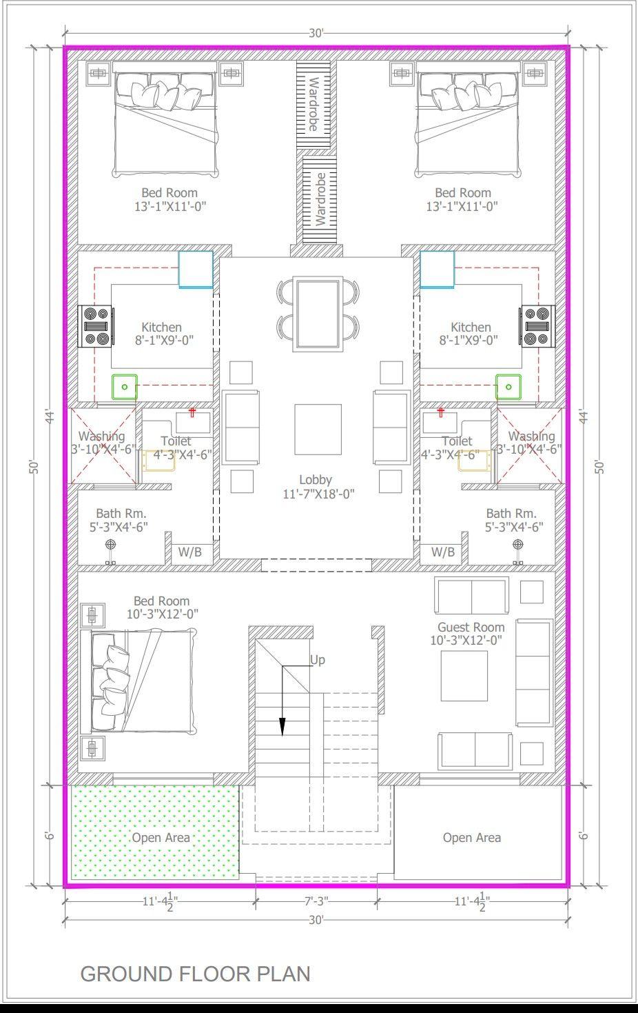 30x50 Bestie Floor Plan 3bhk Guest Room 2seprate Kitchen Client Praposal House Map Family House Plans Home Map Design