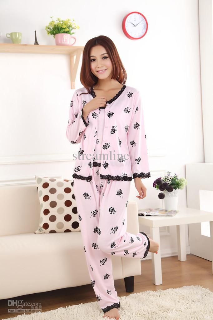 Sleepwear - Buy 3Pcs Set Autumn   Spring Floral Lace Women Pajama Sets in  Pink Cotton Lady Pyjamas SleepwearDHgate bfc3f4a814