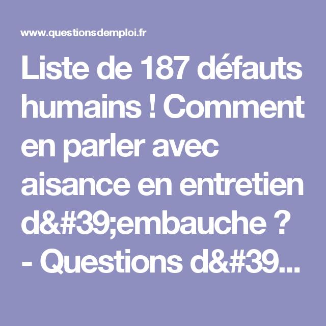 liste de 187 d u00e9fauts humains   comment en parler avec aisance en entretien d u0026 39 embauche