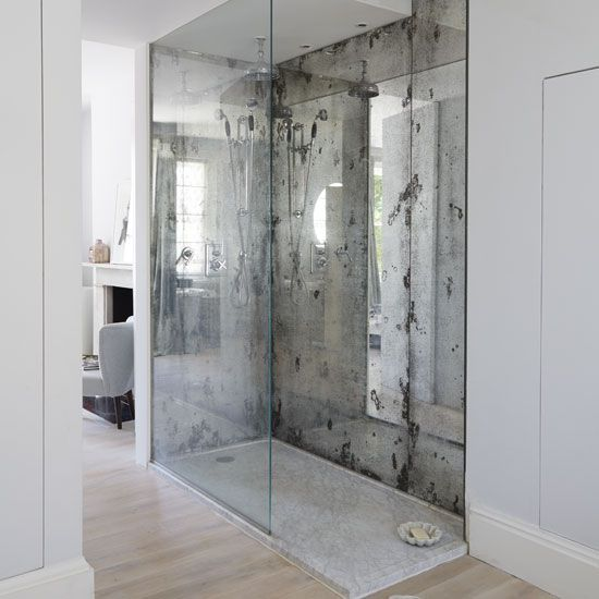 Mirrored Shower Space In 2019 Mirror Backsplash