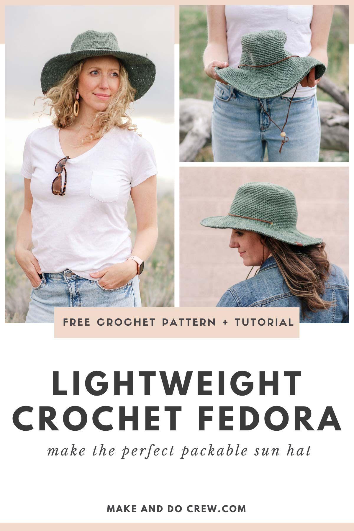 Fedora Crochet Sun Hat Pattern – free pattern + video tutorial – Crochet