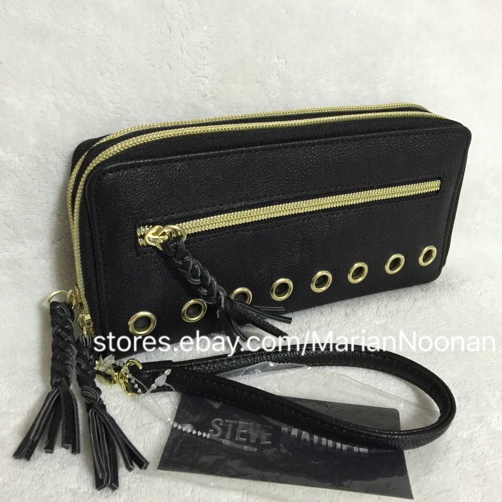 e1889e18c61 NEW Steve Madden Black Double Zip Around Wallet Wristlet Braided Zipper  MR111610 #SteveMadden #Clutch