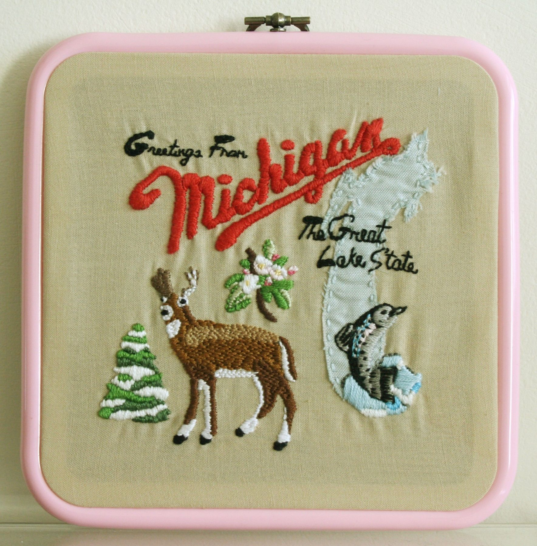 Hand embroidered sufjan stevens greetings from michigan album cover hand embroidered sufjan stevens greetings from michigan album cover embroidery hoop crafts m4hsunfo