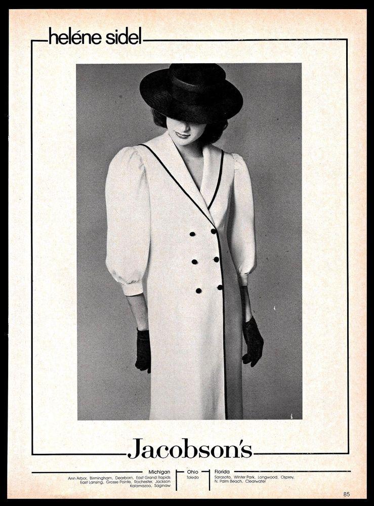 1982 Helene Sidel #Fashion #Designer #Clothing #Jacobson's #Store #B&W # Vintage #Ad #HeleneSidel