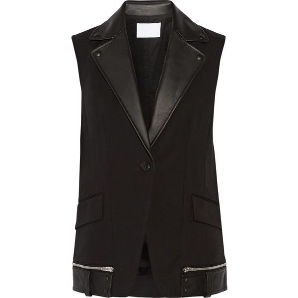 Alexander Wang - Leather-trimmed Cotton-blend Vest (1.510 BRL) ❤ liked