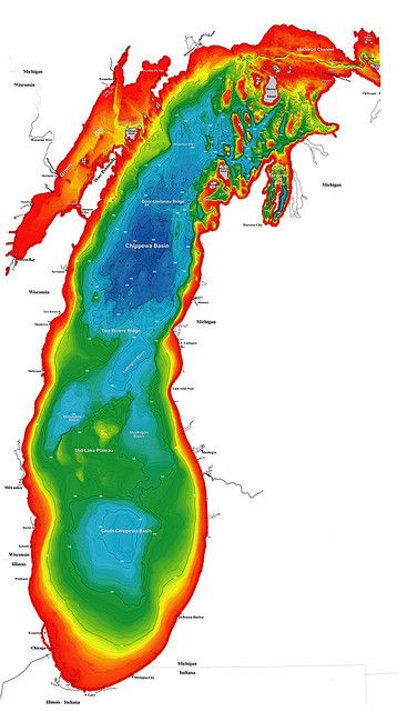 Color bathymetric map of Lake Michigan | Maps and Landscapes