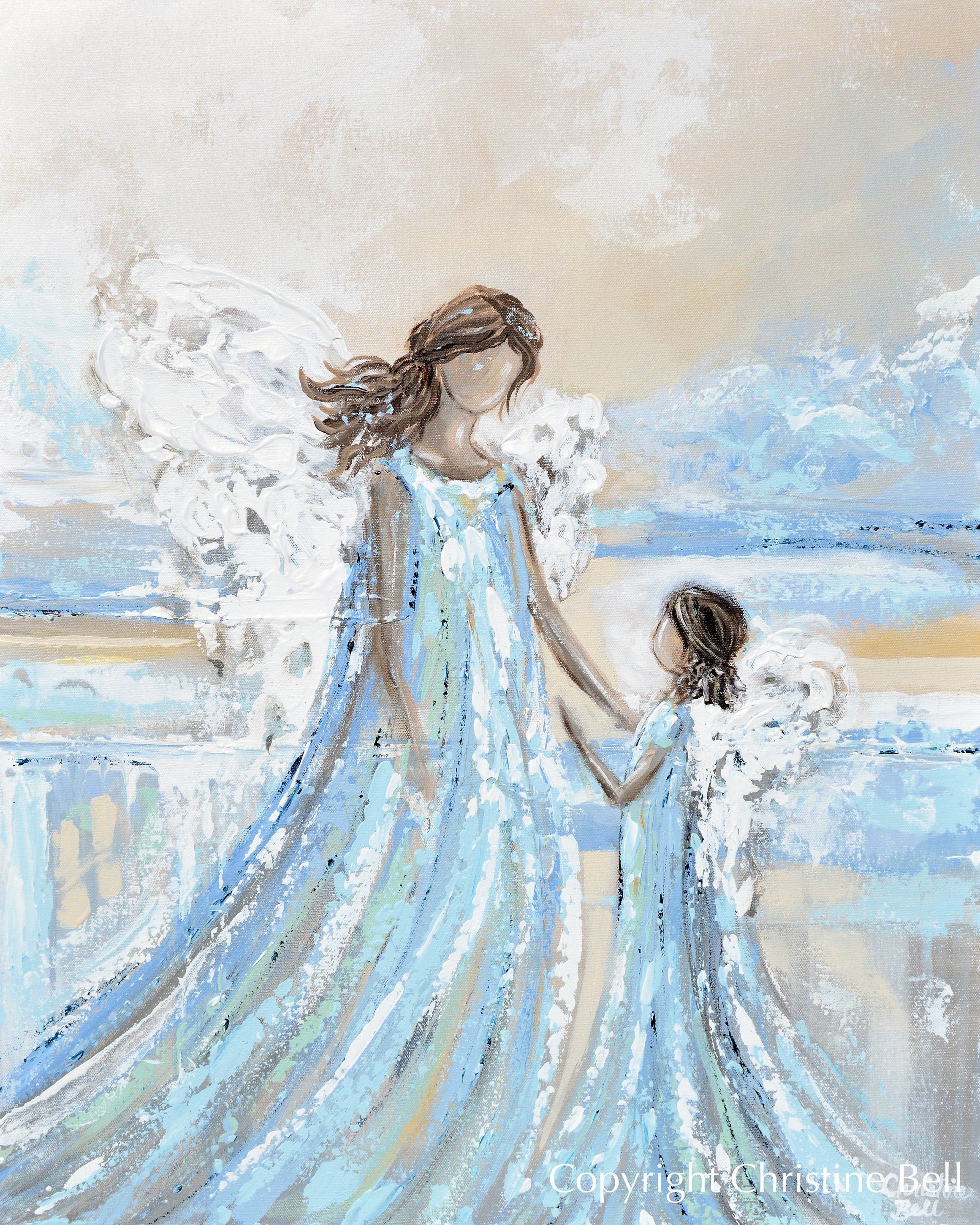 Angel Painting Print Mother Child Guardian Angel Spiritual Wall Art Contemporary Art By Christine Angel Painting Angel Wall Art Angel Artwork