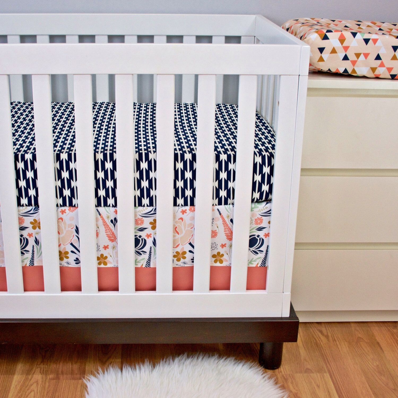 Floral Crib bedding Girl Aztec Nursery Bedding Bumperless Cribset