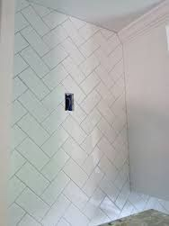 4 X 16 Subway Tile In Shower Herringbone Pattern Google Search Patterns