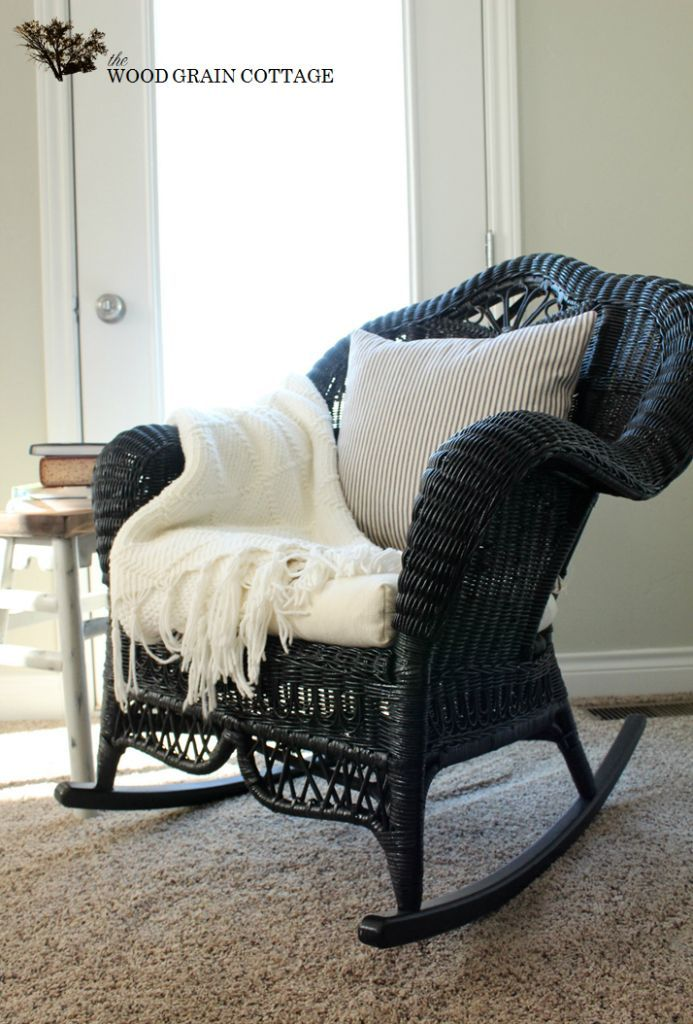 Amazing Restored Wicker Rocking Chair...paint My White Wicker Black?