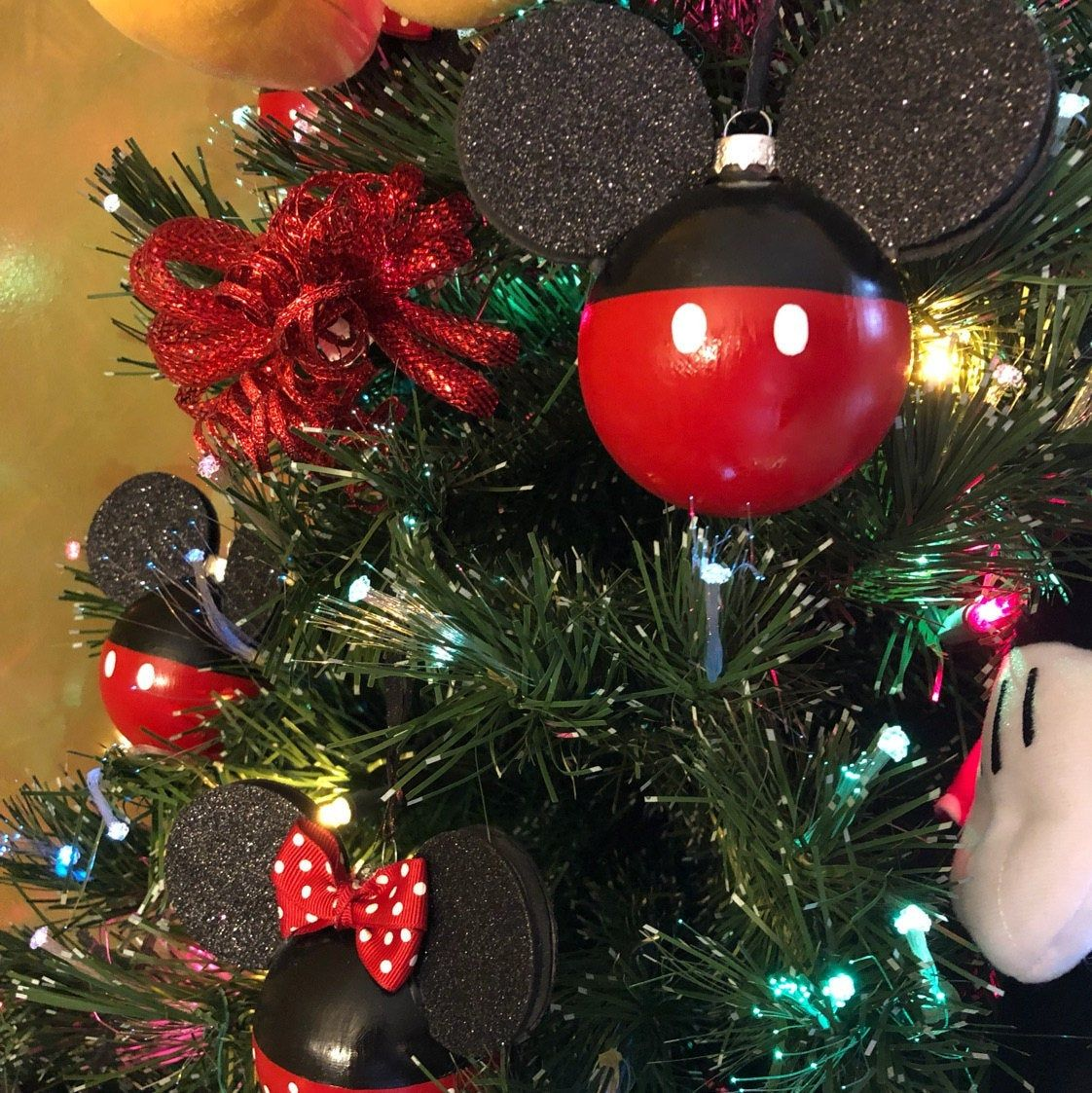 Set Of 12 Mickey And Minnie Inspired Ornament Etsy Disney Christmas Crafts Mickey Mouse Christmas Tree Disney Christmas Ornaments