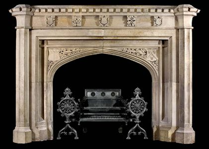 Hand carved tudor gothic mantle model mfp174 houston tx for Tudor style fireplace