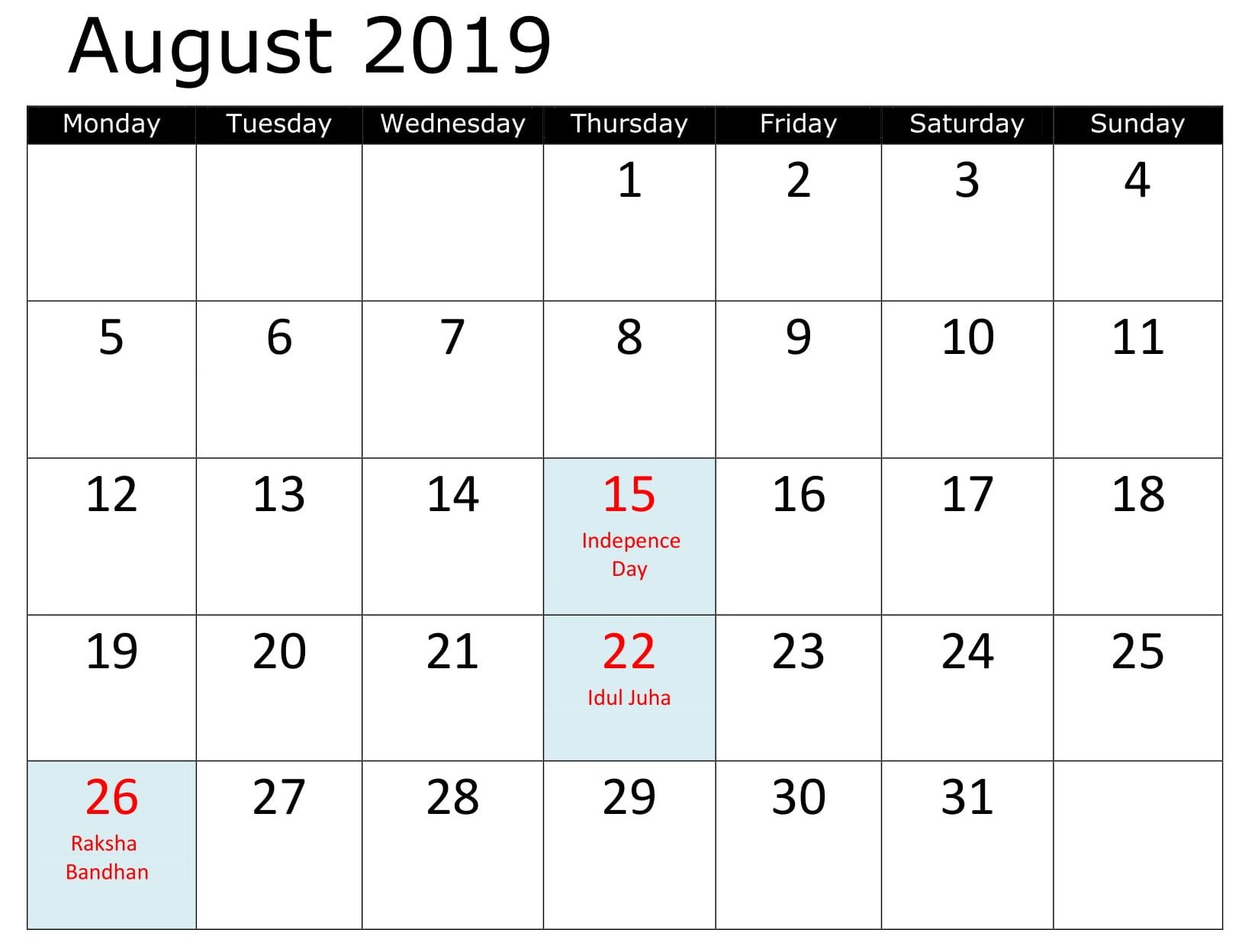 Calendar August 2019 With Holidays Excel With Images 2019
