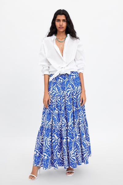 2b4dfa82fc Long printed skirt in 2019 | Products | Skirts, Maxi skirt style ...