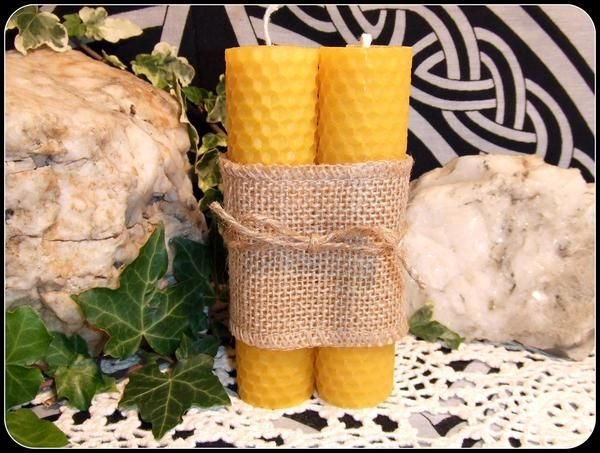 """Handrolled 5"""" Beeswax Pillar Candles Pair in Natural Beeswax 12.75 cms Dinner Candles Circle Working Altar Items Altar Candles Pagan Wiccan - New Moon Enterprise  - 1"""