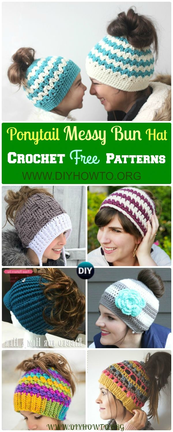 Crochet ponytail messy bun hat free patterns beanie pattern collection of trendy crochet ponytail hat free pattern crochet messy bun hat messy bankloansurffo Images