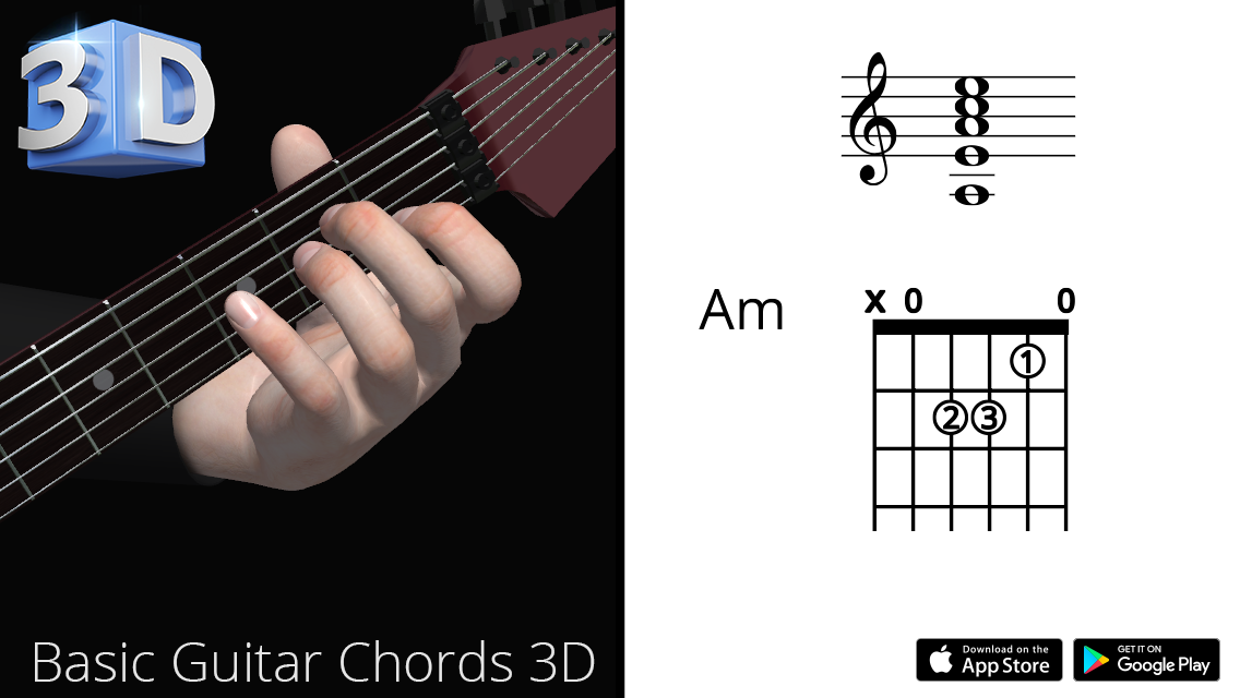 Basic Guitar Chords : Am – La Minor – Polygonium | Guitar Chords ...