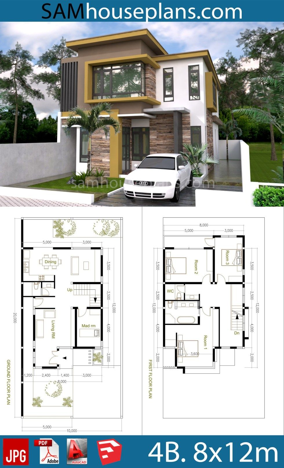House Plans 8x12m With 4 Bedrooms Sam House Plans 2 Storey House Design Building Plans House Architectural House Plans