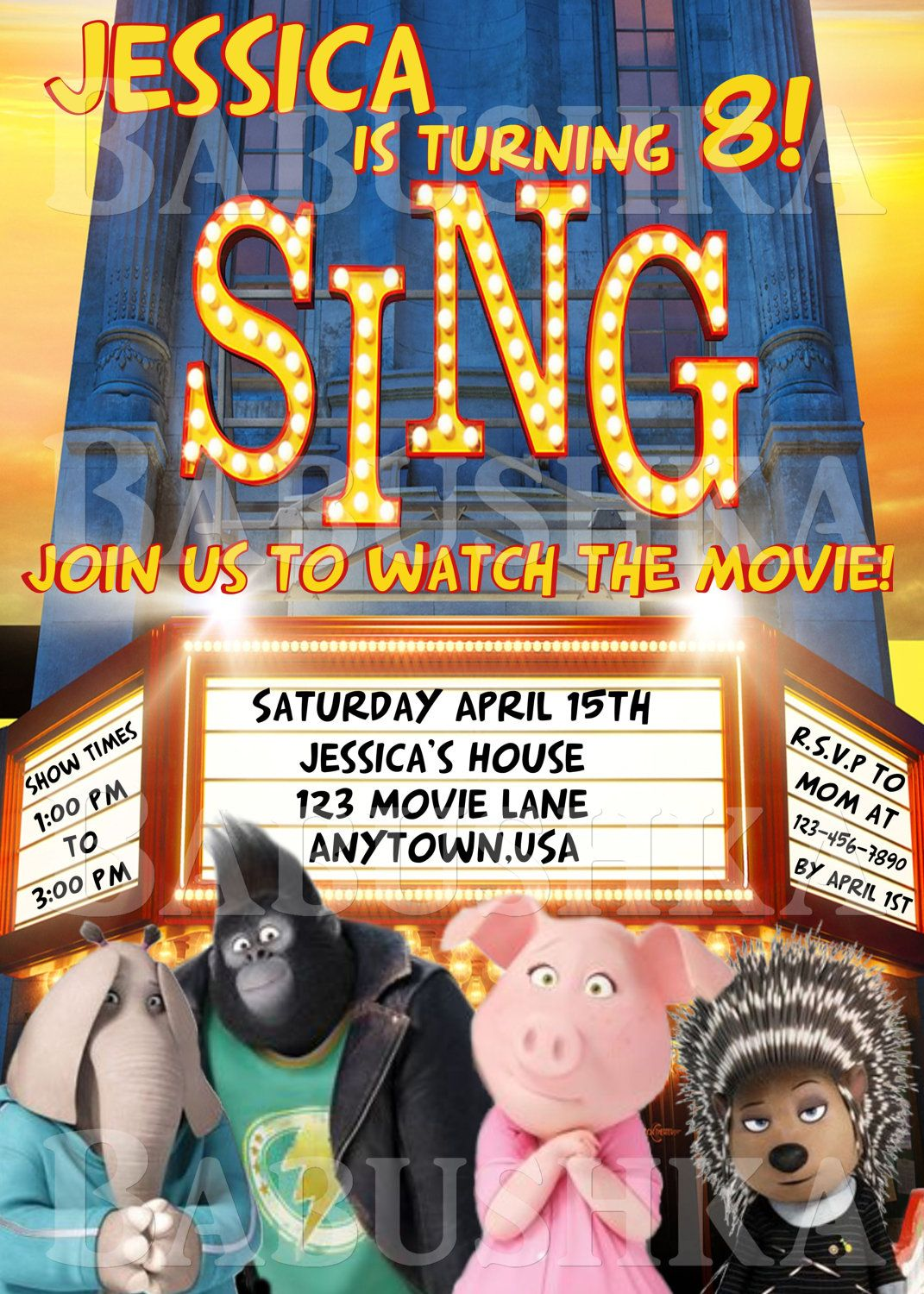make your own birthday party invitations online for free%0A Sing Birthday Invitation  The Movie Sing Party Invite  Child u    s Birthday  party Invitation by BabushkasPrintables