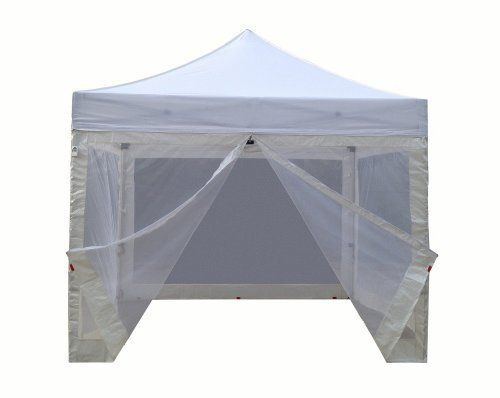 Eurmax Basic Ez Pop Up Canopy With Four 4 Screen Walls And Wheeled Bag Bonus Awning 10x10ft White By Eurmax 259 95 Eur Canopy Frame Canopy Garden Canopy