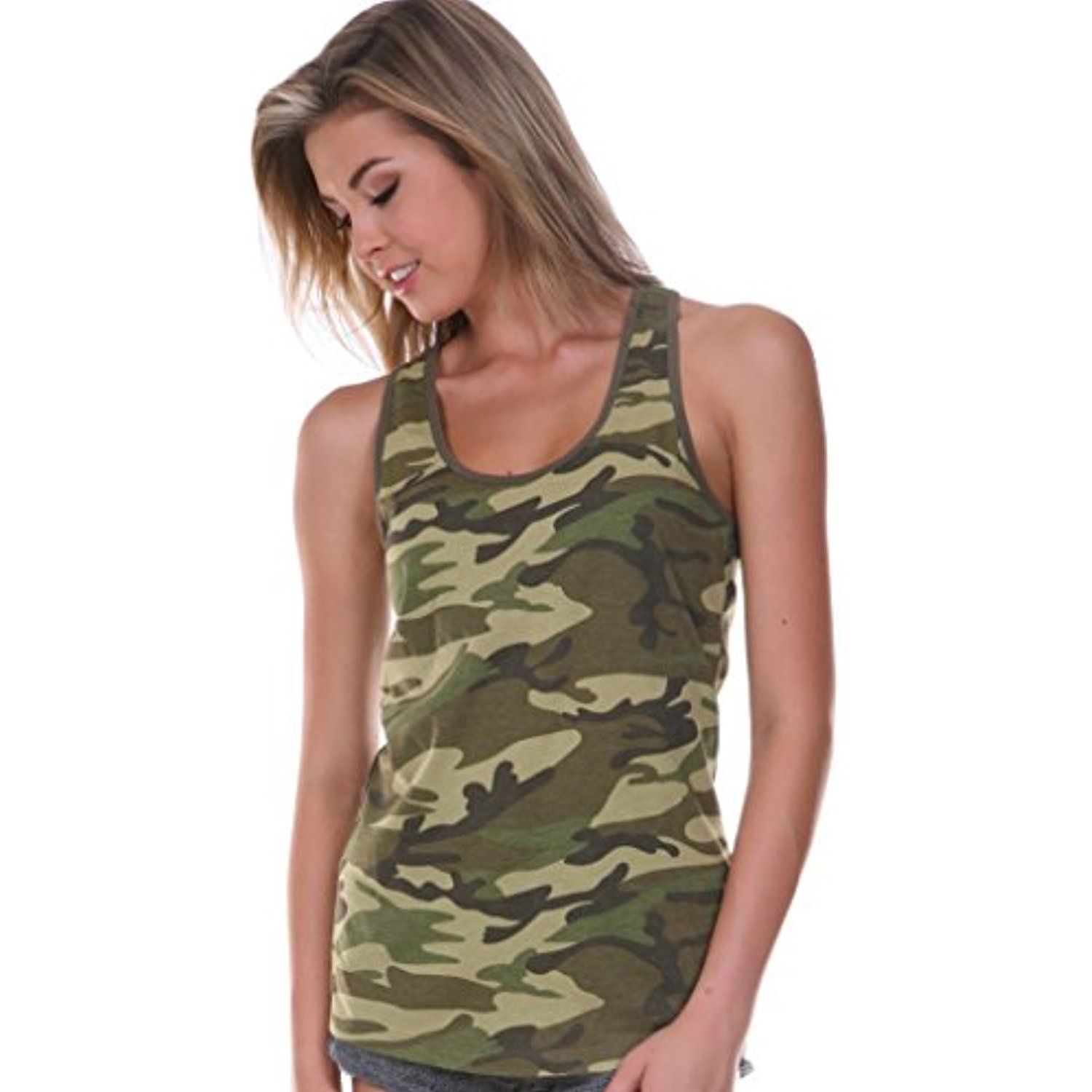 de02ad0bd4169 Juniors Camouflage Racerback Cotton Poly Tank Top    Click on the image for  additional details. (This is an affiliate link)  Clothing