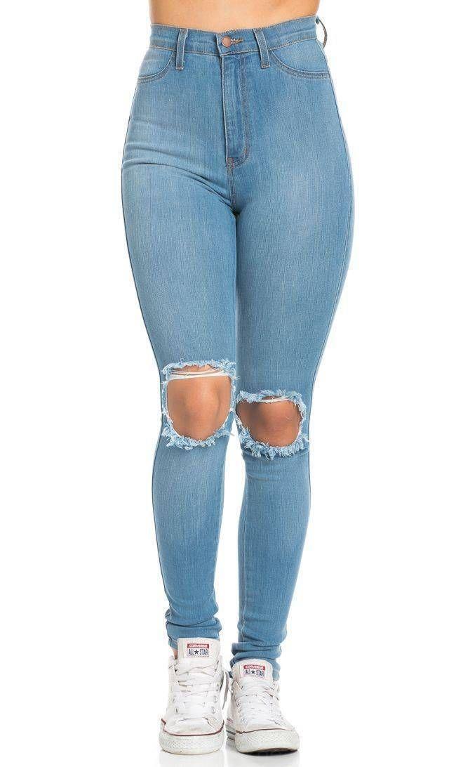 Arranco La Rodilla Super De Talle Alto Pantalones Vaqueros Flacos A La Luz Azul Mas Tamanos Disp Cute Ripped Jeans Jeans Outfit Casual Plus Size Ripped Jeans