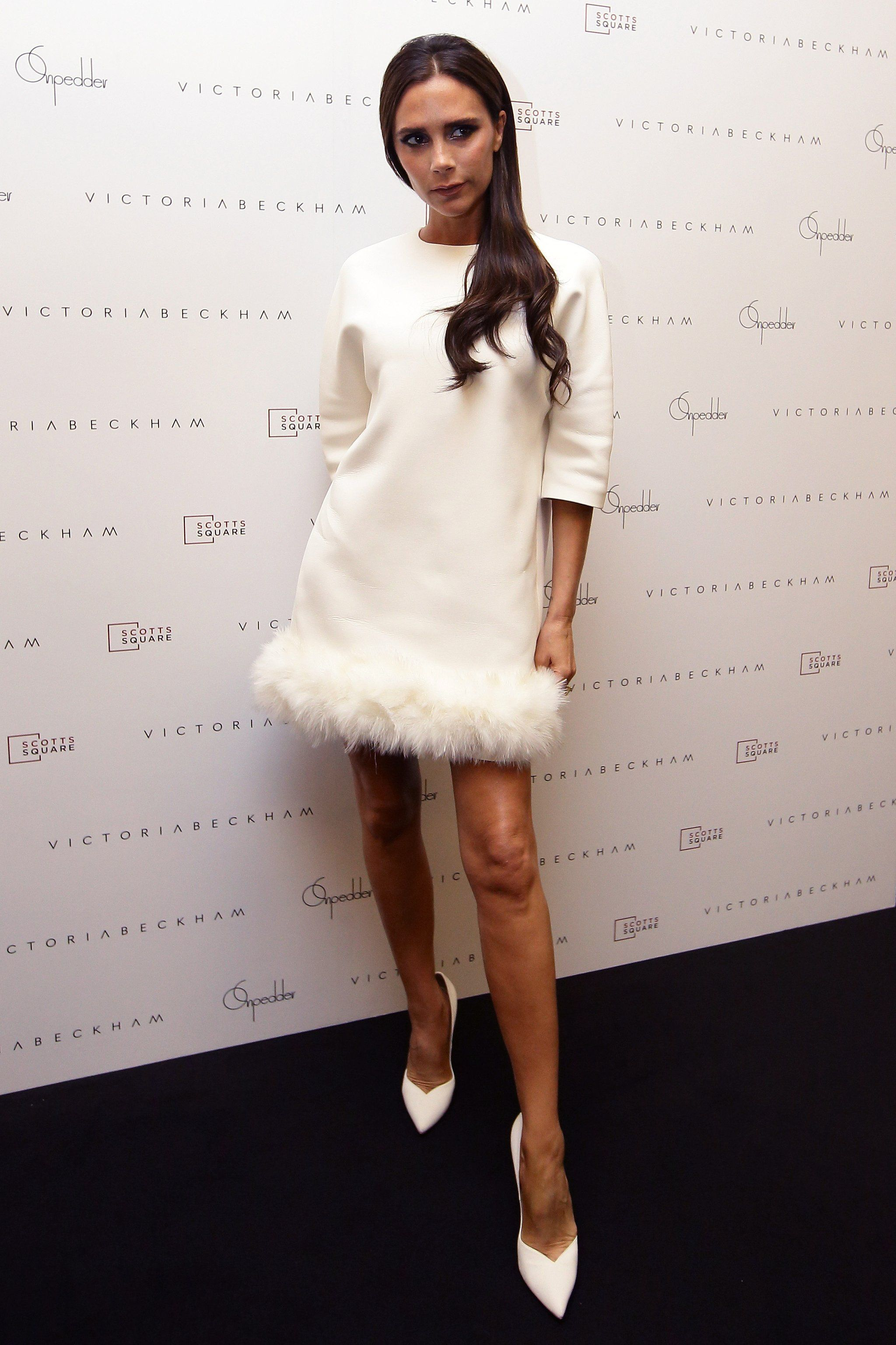 A Flirty Party Dress Is Practically An Essential Victoria Beckham Style White Feather Dress Little White Dresses [ 3072 x 2048 Pixel ]