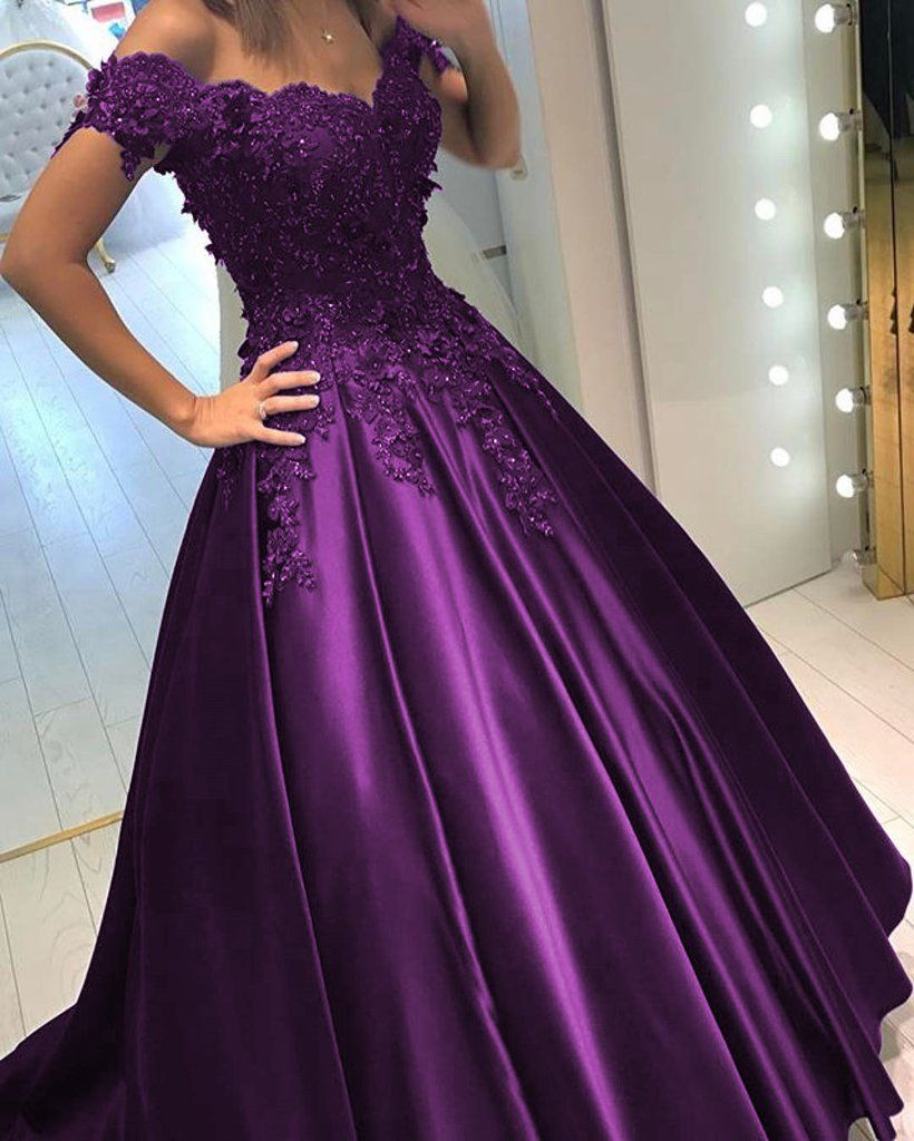 3b28c7eda62 Lace Flower Off The Shoulder Satin Prom Dresses Ball Gowns get this dress  from bygoods.com