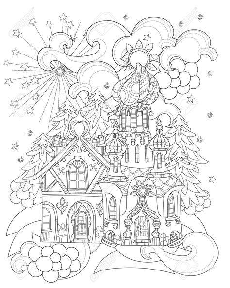 60187599 Vector Cute Christmas Fairy Tale Town Doodle