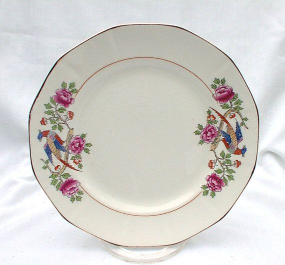 SIX French China Company 9 Dinner Luncheon Plates Bird & SIX French China Company 9 Dinner Luncheon Plates Bird | Vintage ...