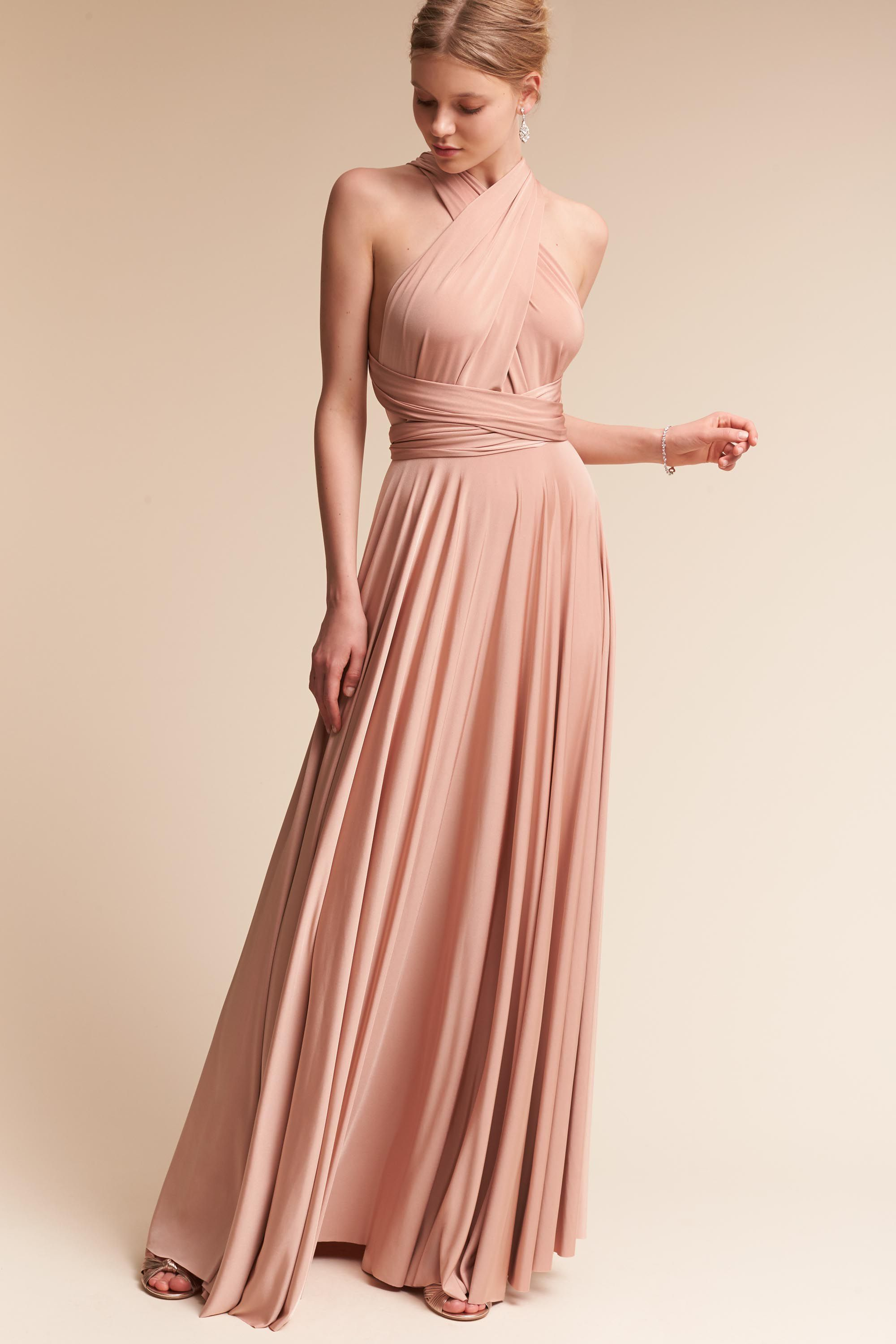 BHLDN Ginger Convertible Maxi Dress Matte Rosewater in Occasion ...