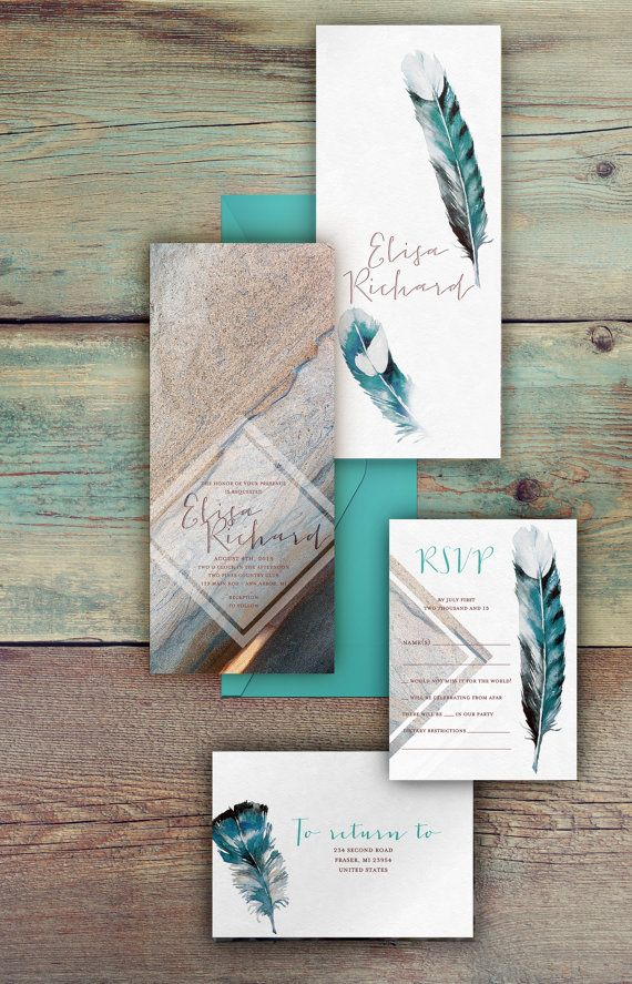 Bohemian wedding invitations feather and stone wedding set not bohemian wedding invitations feather and stone wedding set not exactly the right direction for us but still like the realism and grainy application stopboris Image collections