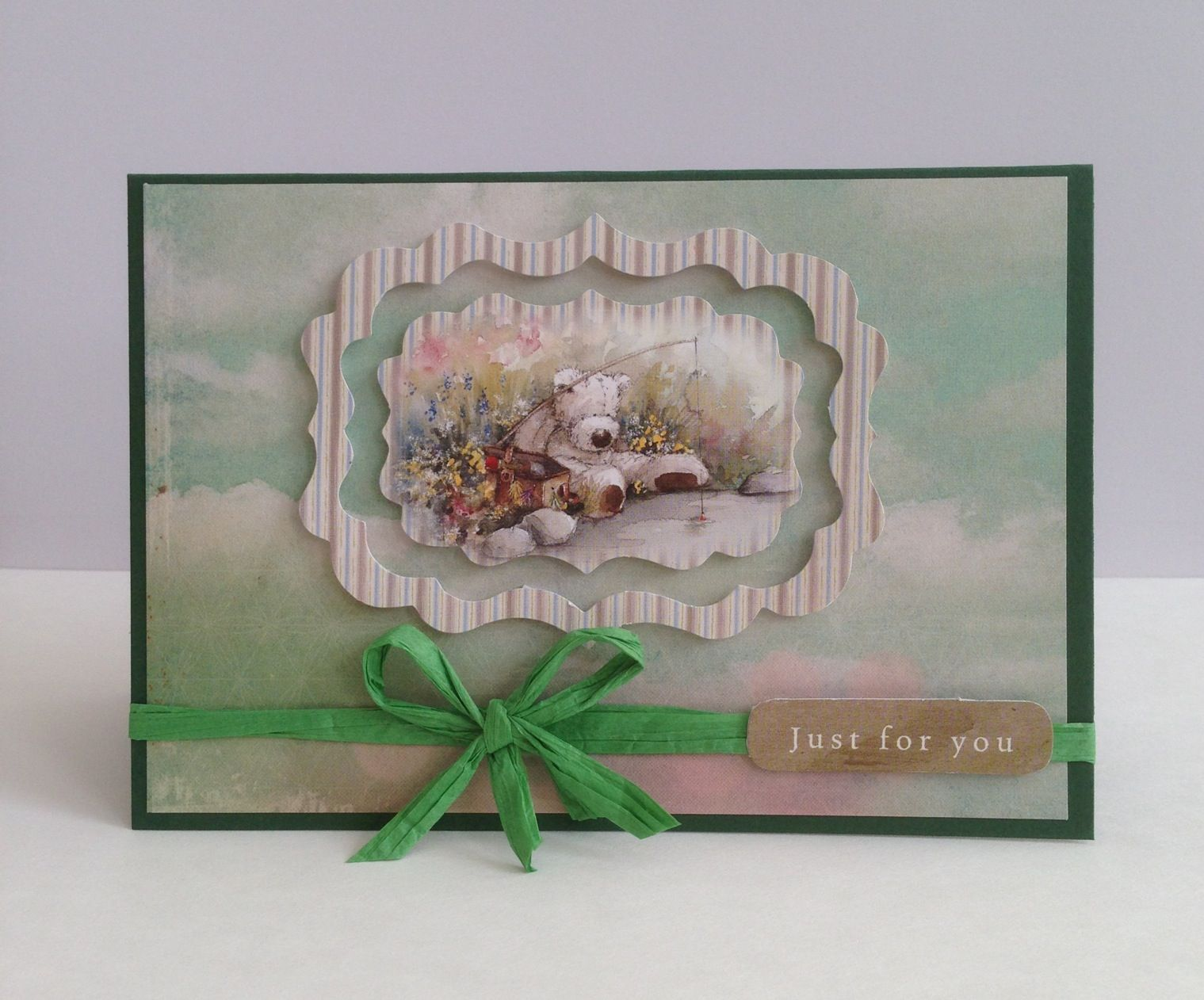 Green teddy bear card - hand made by me