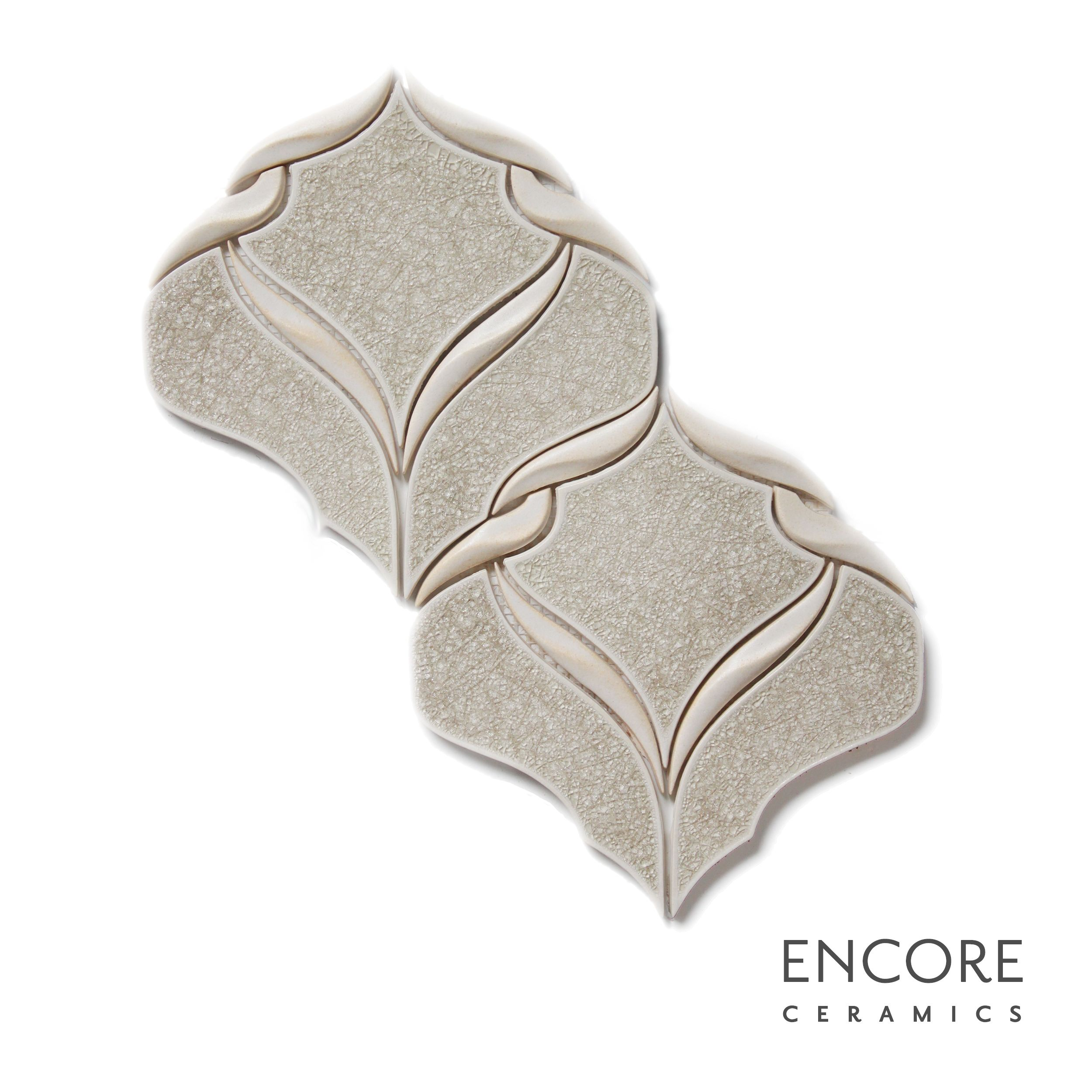 Encore Ceramics | Belvedere mosaic hand-glazed in Martini jewel with dimensional ribbons in Capri matte | Sustainably made in Oregon