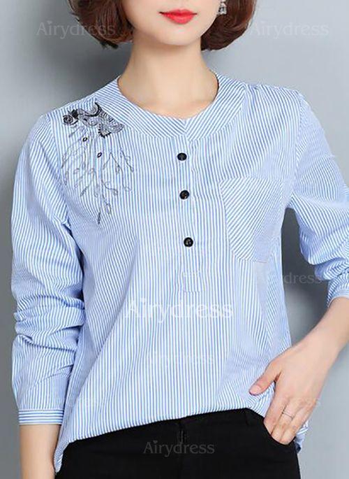 b3af5322e4 Raya Casuales Algodón Cuello redondo Manga larga Camisas (1031507 ...
