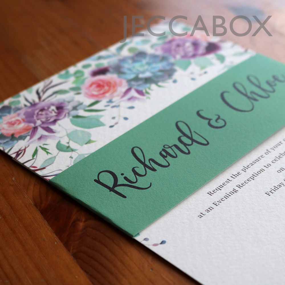 A5 hammered texture card with floral and succulent wedding