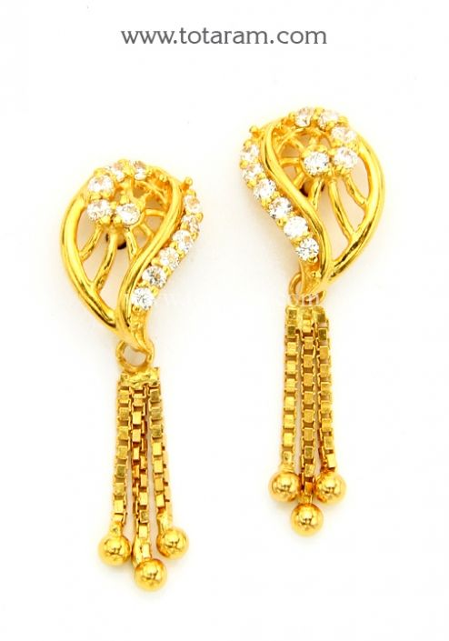 22K Gold Drop Earrings with Cz Totaram Jewelers Buy Indian Gold