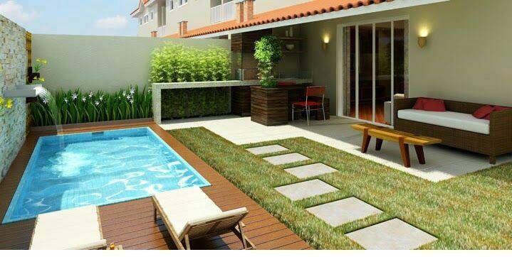Patio moderno con asador y alberca jardin en 2019 for Disenos de albercas en patios pequenos