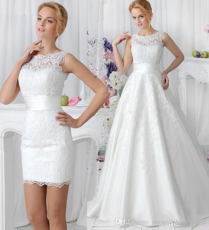 2015 elegant lace wedding dresses with detachable skirt high neck two pieces simple china made plus size a line buttons back bridal gowns