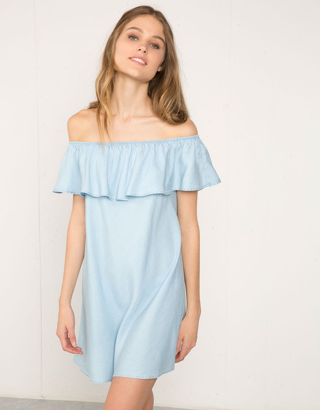 Bershka ruffle denim dress | My style | Pinterest | Vestidos ...