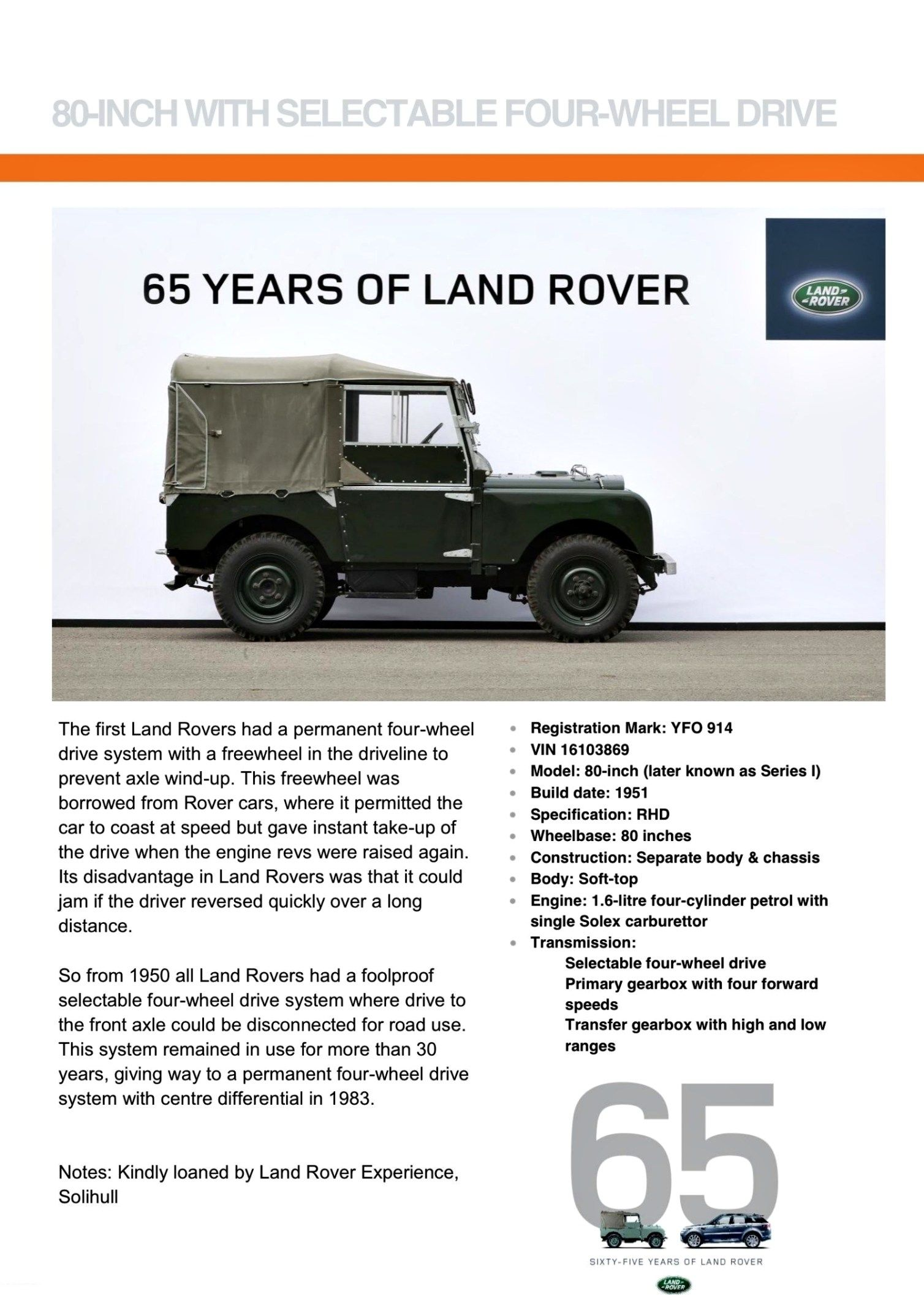 65 Years Land Rover Established