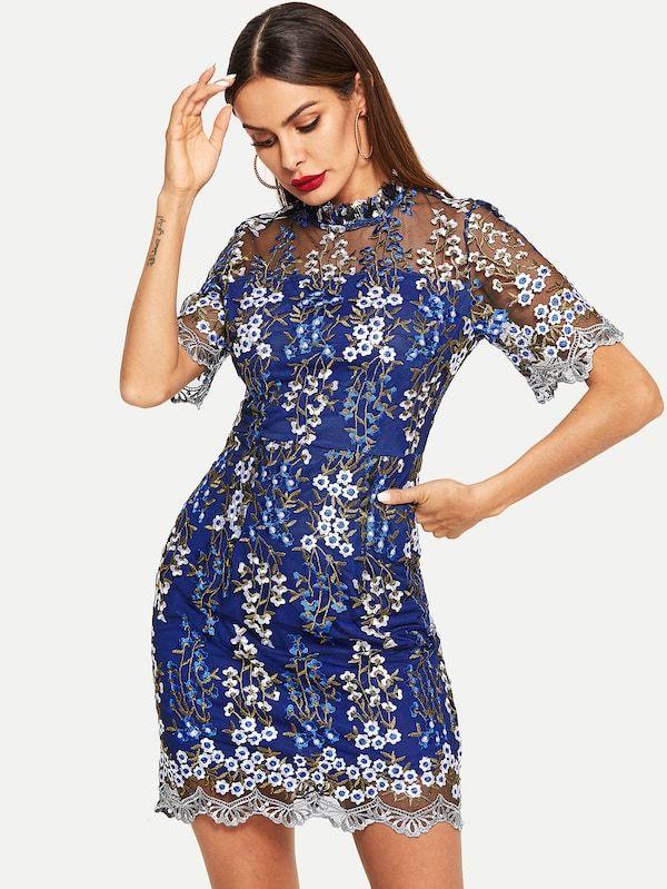 Vestido Floral Con Malla En Contraste Spanish Shein